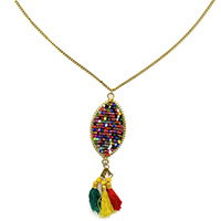 MNA-147A,Multed Oval Small Beads Pandel with Tassel Long Chain Gold Oxidised Necklace,Nickel Free-a