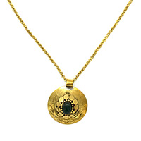 MNA-151,Oval Emerald Stone Round Pandle Gold Oxidised Long Chain Necklace,Nickel Free-a