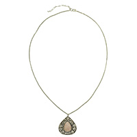 MNA-153,Pink Onyx Stone Sajai Silver Oxidised Long Chain Necklace,Nickel Free-a