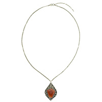 MNA-154A,Red Onyx Stone Sajai Silver Oxidised Long Chain Necklace,Nickel Free-a