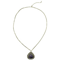 MNA-157A,Amethyst Stone Sajai Silver Oxidised Long Chain Necklace,Nickel Free-a