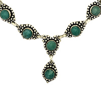 MNA-162ARound-Green-Onyx-Long-Chain-Silver-Oxidised-NecklaceNickel-Free-a