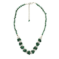 MNA-171,Green Onyx Stone Silver Oxidised Necklace,Nickel Free a