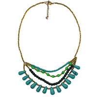 MNA-184,Green Multed 4 Rows Gold Plated Chain Drop Necklace,Nickel Free-a