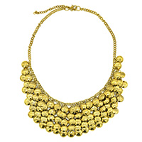 MNA-193,Hammered 5 Rows Gold Plated Chain Necklace,Nickel Free a