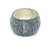 MNpA-1511,Black Seed Beads Wire Silver Plated Napkin Ring-a