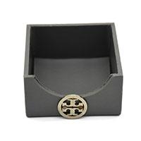 MNpA-1524,Grey Leather Napkin Box-a