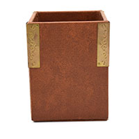 MPA-1608,Brown Leather 4 Side Gold Oxidised Clip Pen Holder-ajpg