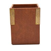Brown Leather 4 Side Gold Clip Pen Holder