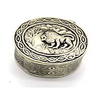 MWA-1479,Forest Lion Silver Oxidised Small Gift Box-a