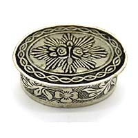 MWA-1480,Star Silver Oxidised Small Box-Oval-a