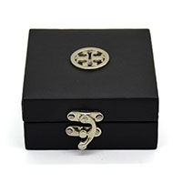 MWA-1491,Black Leather Round Silver Buckle Gift Box-a
