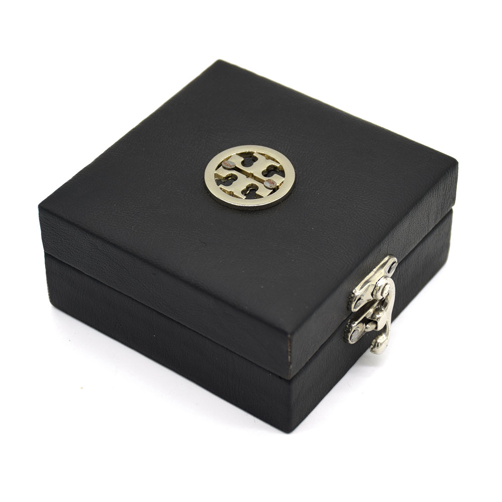 Black Leather Round Silver Buckle Gift Box