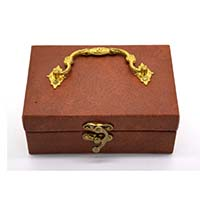MWA-1495,Brown Leather Gold Plated Handle Gift Box-a
