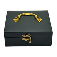 Grey Leather Gold Plated Handle Gift Box