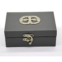 MWA-1498,Grey Leather Silver Buckle Gift Box-a