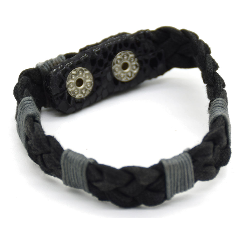 Black & Grey Cotton Thread Men Bracelet