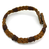 Golden & Brown Cotton Thread Men Bracelet