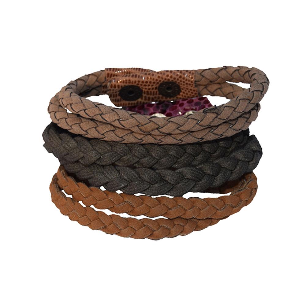 Brown Cotton Thread 2 Rows Bunai Men Bracelet-Set of 3