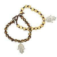 Hamsa Round Bead Men Bracelet -Set of 2