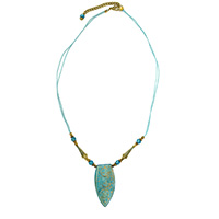 MNA-1100,Turquoise Bone Carving Pandle Bone Beads Brass Gold Plated Tone Cotton Thread Necklace,Nickel Freea a