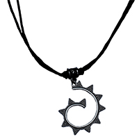 MNA-1105,E Triangle Black Knot Thread Brass Silver Oxidised Necklace,Nickel Free-aa