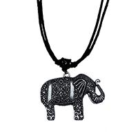 MNA-1106,King Elephant Sajai Black Cotton Knot Thread Silver Oxidised Necklace,Nickel Free-aa