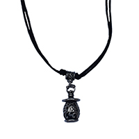 MNA-1107,Tambour Flower Black Knot Thread Brass Silver Oxidised Necklace,Nickel Free-a