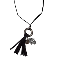 MNA-172,Grey Lather Dori Round Net Smoke Stone Bead Hand Charm Lather Tassel Long Necklace,Nickel Free1-a