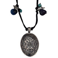 MNA-176,Multed Stone Silver Oxidised Pandle Black Dori Necklace,Nickel FreeA-a