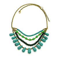 MNA-184,Green Multi 4 Rows Gold Plated Chain Drop Necklace-a