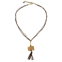 MNA-186,Wood Elephant Brown Cotton Thread Long Gold Plated Tone Necklace,Nickel Free-a