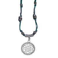 MNA-187,4 Rows Multed Cotton Green Thread Silver Oxidised Flower Pandle Necklace,Nickel FreeA-a