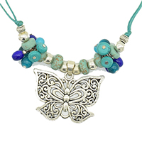 MNA-191,Multed Glass Drop Butterfly Silver Oxidised Center Pandle Green Cotton Dori Necklace,Nickel Free-a