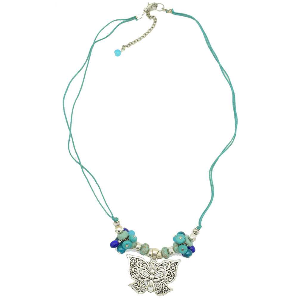 MNA-191,Multed Glass Drop Butterfly Silver Oxidised Center Pandle Green Cotton Dori Necklace,Nickel Free