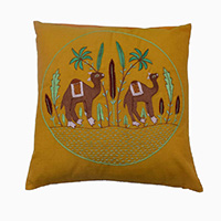 MPiA-2701,Handmade Camel In Dessert Design Pure Cotton Yellow Thread And Pure Cotton Fabric Cushion Cover- a