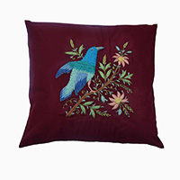 MPiA-2702,Handmade Colorful Bird Pure Cotton Dark Red Thread And Pure Cotton Fabric Cushion Cover-a