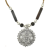 MNA-1103Dark-Brown-Bone-Pipe-Round-Bone-Beads-Brass-Silver-Oxidised-Sajai-Rajasthani-Pandle-Brass-Silver-Plated-Beads-Cotton-NecklaceNickel-Free-a