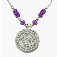 MNA-1104A,Puple Bone Grid Pipe Round Lines Bone Bead Brass Silver Round Beads Brass Silver Oxidised Flower Pandle Purple Thread Necklace,Nickel Free-a