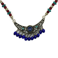MNA-1109,Multed Glass Sajai Meena Work Pandle Brass Silver Plated Beads Necklace,Nickel FreeA-a