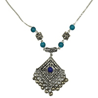 MNA-1110,Sajai Blue Stone Blue Bell Glass Round Sajai Beads Silver Plated Chain Necklace,Nickel Free-a