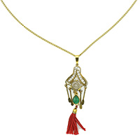 MNA-1111A,Wire Pandle Green Glass Red Cotton Tassel Hanging Long Brass Gold Plated Chain Necklace,Nickel Free-a