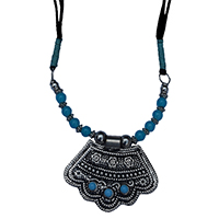 MNA-1114,Sajai Silver Oxidised Pandle Turquoise Glass Green Cotton Thread Knot Black Thread Long Necklace,Nickel Free-a