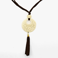 MNA-1115,Moon White Bone Grid Brown Tassel Round Rose Bead Long Brass Gold Plated Necklace,Nickel Free-a