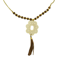MNA-1117,White Bone Grid Pandle Brown Small Bone Leather Tassel Brass Gold Plated Long Necklace,Nickel Free-a