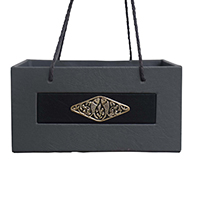 Grey Black Leather Fish Design Brass Basket