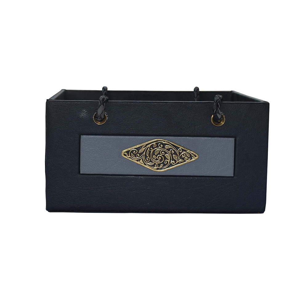 Black Grey Leather Fish Design Brass Basket