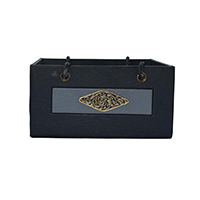 Black Grey Leather Fish Design Brass Basket