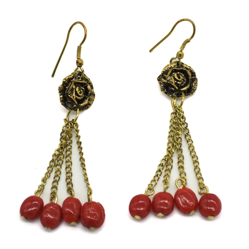 Rose 4 Rows Coral Glass Beads Earrings