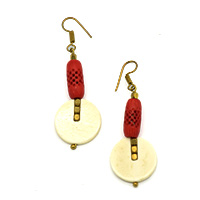Bone Red Jali Earrings
